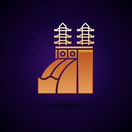Gold Nuclear power plant icon isolated on dark blue background. Energy industrial concept. Vector Illustration Standard-Bild - 134896404