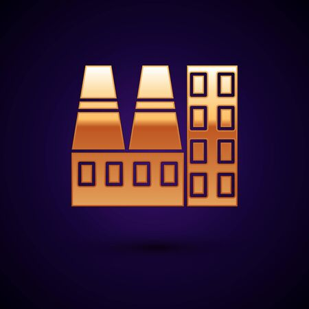 Gold Power station plant and factory icon isolated on dark blue background. Energy industrial concept. Vector Illustration Standard-Bild - 134896447