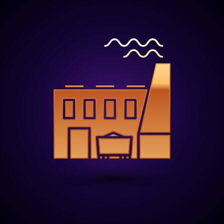 Gold Coal power plant and factory icon isolated on dark blue background. Energy industrial concept. Coal power station. Vector Illustration