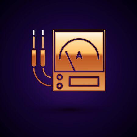 Gold Ampere meter, multimeter, voltmeter icon isolated on dark blue background. Instruments for measurement of electric current. Vector Illustration
