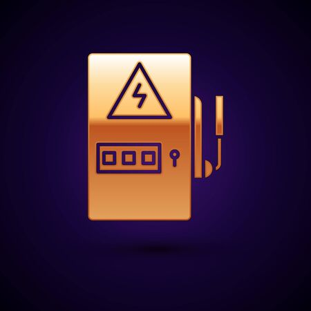 Gold Electrical panel icon isolated on dark blue background. Vector Illustration