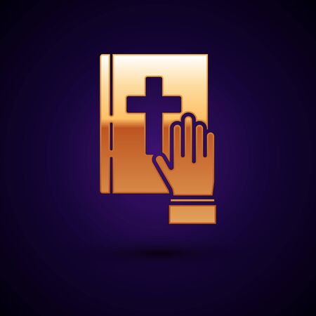 Gold Oath on the Holy Bible icon isolated on dark blue background. The procedure in court. Truth and truth. Promise before god. Vector Illustration