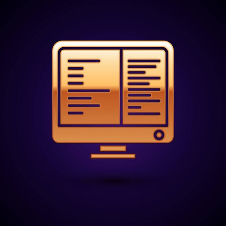 Gold Computer monitor screen icon isolated on dark blue background. Electronic device. Front view. Vector Illustration