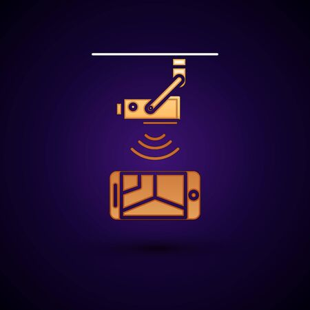 Gold Wireless Controlling CCTV security camera with smartphone icon isolated on dark blue background. IOT Concept and remote home appliance. Vector Illustration