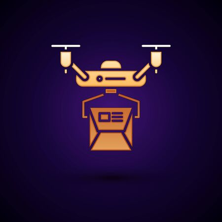 Gold Drone delivery concept icon isolated on dark blue background. Quadrocopter carrying a package. Transportation, logistic concept. Vector Illustration Standard-Bild - 134896544