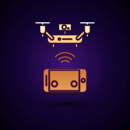 Gold Remote aerial drone with a camera taking photography or video recording icon isolated on dark blue background. Vector Illustration Illusztráció