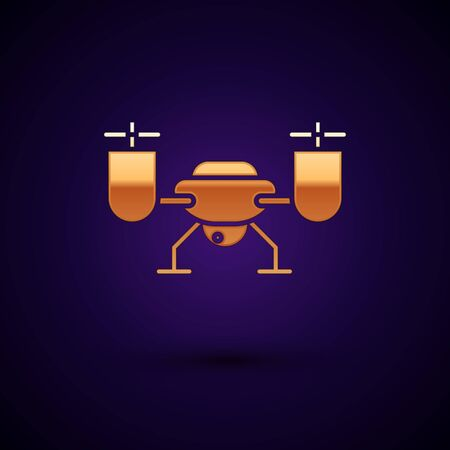 Gold Drone flying with action video camera icon isolated on dark blue background. Quadcopter with video and photo camera symbol. Vector Illustration