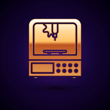 Gold 3D printer icon isolated on dark blue background. Vector Illustration