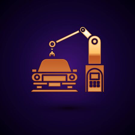 Gold Industrial machine robotic robot arm hand on car factory icon isolated on dark blue background. Industrial automation production automobile. Vector Illustration