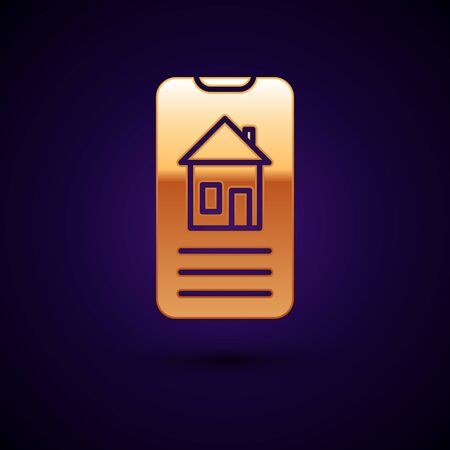 Gold Smart home icon isolated on dark blue background. Remote control. Vector Illustration