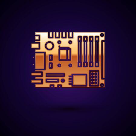 Gold Electronic computer components motherboard digital chip integrated science icon isolated on dark blue background. Circuit board. Vector Illustration