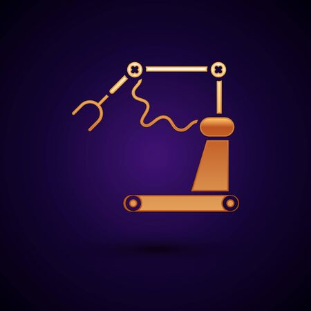 Gold Industrial machine robotic robot arm hand factory icon isolated on dark blue background. Industrial robot manipulator. Vector Illustration Illusztráció