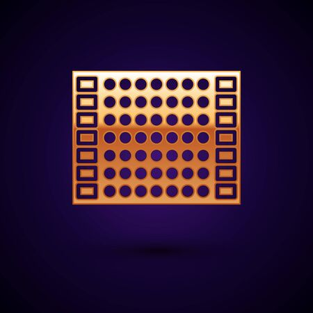 Gold Printed circuit board PCB icon isolated on dark blue background. Vector Illustration 일러스트