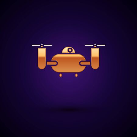 Gold Drone flying with action video camera icon isolated on dark blue background. Quadrocopter with video and photo camera symbol. Vector Illustration