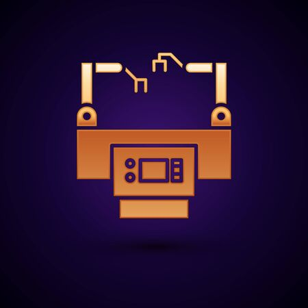 Gold Assembly line icon isolated on dark blue background. Automatic production conveyor. Robotic industry concept. Vector Illustration