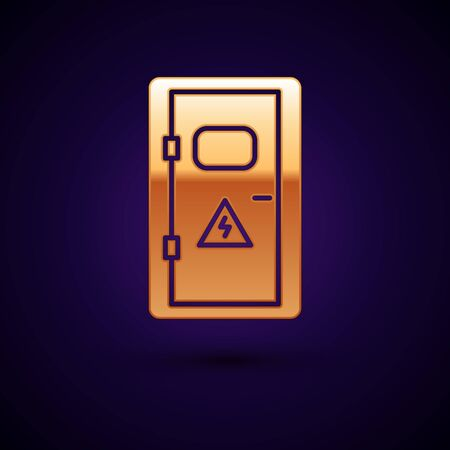 Gold Electrical cabinet icon isolated on dark blue background. Vector Illustration