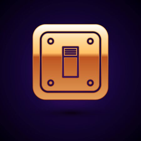 Gold Electric light switch icon isolated on dark blue background. On and Off icon. Dimmer light switch sign. Concept of energy saving. Vector Illustration
