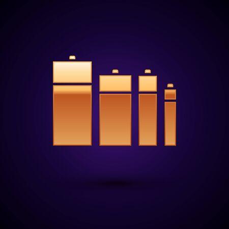 Gold Battery icon isolated on dark blue background. Lightning bolt symbol. Vector Illustration Ilustração