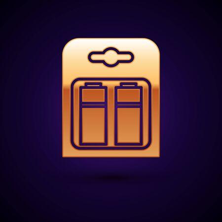 Gold Battery in pack icon isolated on dark blue background. Lightning bolt symbol. Vector Illustration