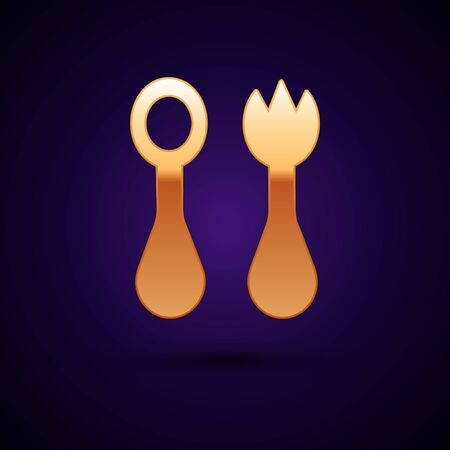 Gold Baby plastic cutlery with fork and spoon icon isolated on dark blue background. Cutlery for kid. Childrens dining items. Vector Illustration Reklamní fotografie - 134899011