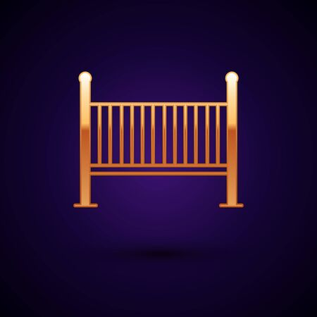 Gold Baby crib cradle bed icon isolated on dark blue background. Vector Illustration