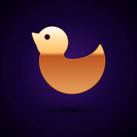 Gold Rubber duck icon isolated on dark blue background. Vector Illustration