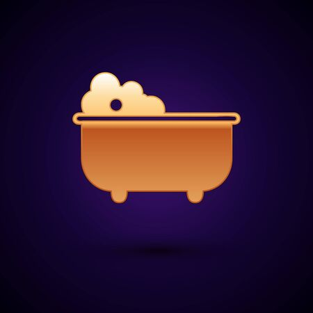 Gold Baby bathtub with foam bubbles inside icon isolated on dark blue background. Vector Illustration