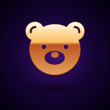 Gold Teddy bear plush toy icon isolated on dark blue background. Vector Illustration Illusztráció