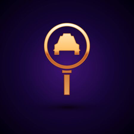 Gold Magnifying glass and taxi car icon isolated on dark blue background. Taxi search. Vector Illustration