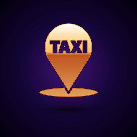 Gold Map pointer with taxi icon isolated on dark blue background. Location symbol. Vector Illustration