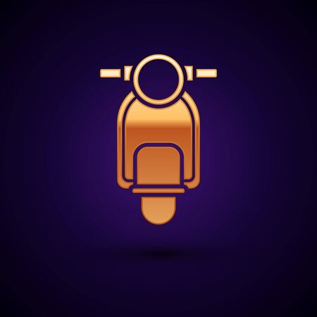 Gold Scooter icon isolated on dark blue background. Vector Illustration