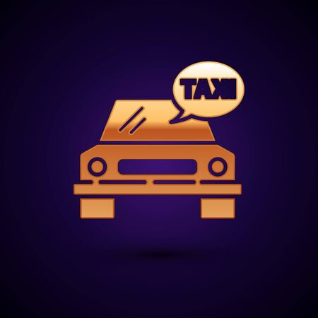 Gold Taxi car icon isolated on dark blue background. Vector Illustration