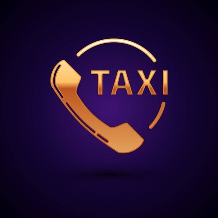 Gold Taxi call telephone service icon isolated on dark blue background. Taxi for smartphone. Vector Illustration