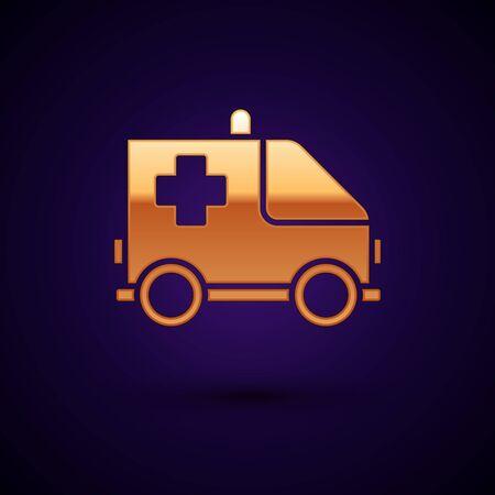 Gold Ambulance and emergency car icon isolated on dark blue background. Ambulance vehicle medical evacuation. Vector Illustration