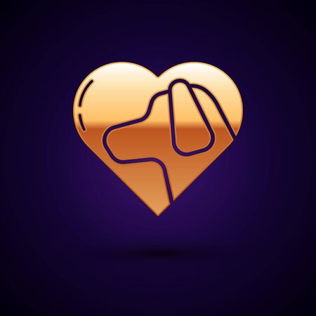 Gold Heart with dog icon isolated on dark blue background. Pet paw in heart. Love to the animals. Vector Illustration Фото со стока - 134897501