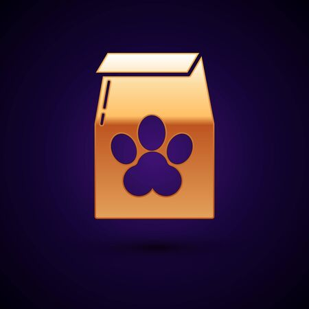Gold Bag of food for pet icon isolated on dark blue background. Food for animals. Pet food package. Dog or cat paw print. Vector Illustration