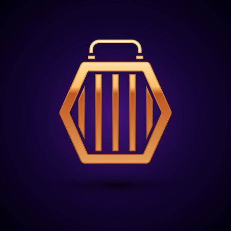 Gold Pet carry case icon isolated on dark blue background. Carrier for animals, dog and cat. Container for animals. Animal transport box. Vector Illustration Illustration