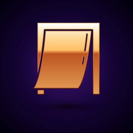 Gold Door for pet icon isolated on dark blue background. Vector Illustration Illusztráció