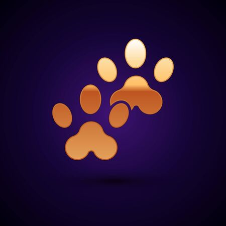 Gold Paw print icon isolated on dark blue background. Dog or cat paw print. Animal track. Vector Illustration Фото со стока - 134898098