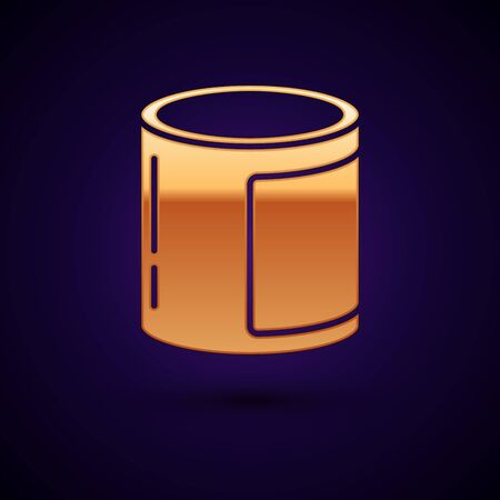Gold Canned food icon isolated on dark blue background. Food for animals. Pet food can. Vector Illustration Illusztráció