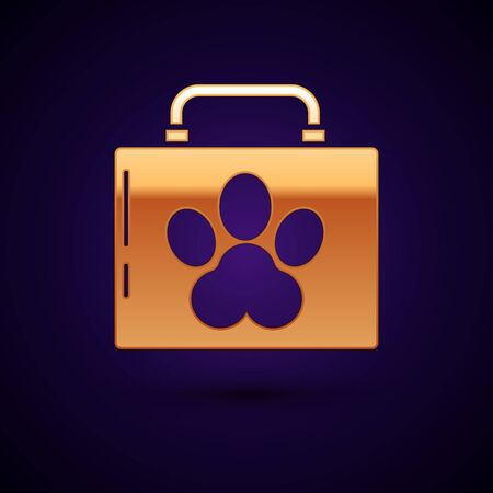 Gold Pet first aid kit icon isolated on dark blue background. Dog or cat paw print. Clinic box. Vector Illustration