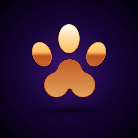 Gold Paw print icon isolated on dark blue background. Dog or cat paw print. Animal track. Vector Illustration