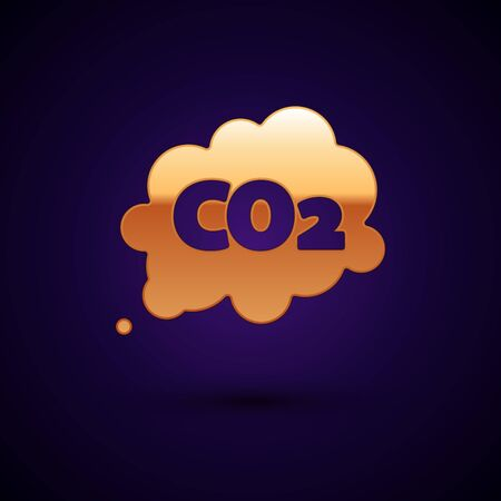 Gold CO2 emissions in cloud icon isolated on dark blue background. Carbon dioxide formula symbol, smog pollution concept, environment concept. Vector Illustration