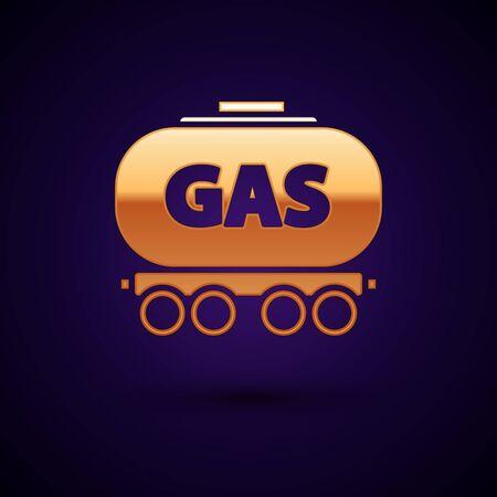 Gold Gas railway cistern icon isolated on dark blue background. Train gasoline tank on railway car. Rail freight. Vector Illustration
