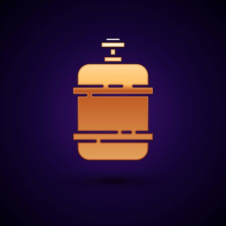 Gold Propane gas tank icon isolated on dark blue background. Flammable gas tank icon. Vector Illustration Reklamní fotografie - 134897895
