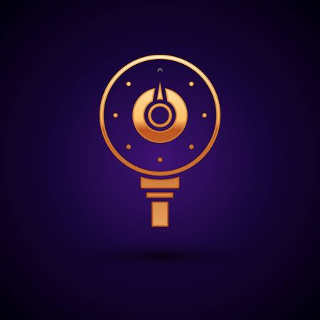 Gold Motor gas gauge icon isolated on dark blue background. Empty fuel meter. Full tank indication. Vector Illustration