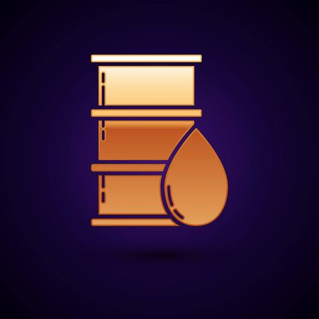Gold Barrel oil icon isolated on dark blue background. Vector Illustration Stock Illustratie
