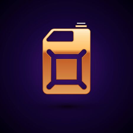 Gold Canister for gasoline icon isolated on dark blue background. Diesel gas icon. Vector Illustration