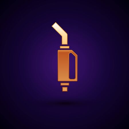 Gold Gasoline pump nozzle icon isolated on dark blue background. Fuel pump petrol station. Refuel service sign. Gas station icon. Vector Illustration Illustration