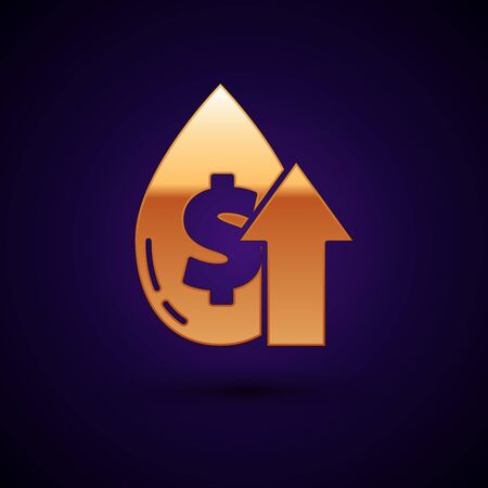 Gold Oil price increase icon isolated on dark blue background. Oil industry crisis concept. Vector Illustration